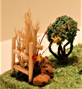 Fairy house bush & dried flowerbed
