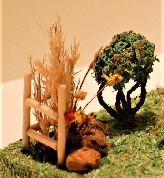 Fairy house bush & dried flowerbed