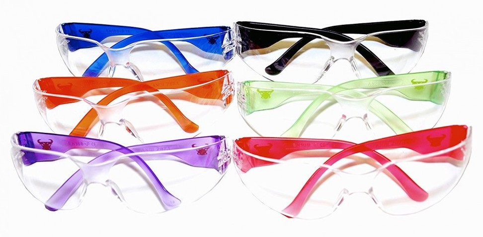 6 pairs of safety glasses with 6 different colored frames.