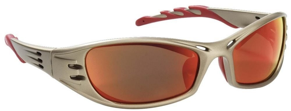 Safety glasses with a golden sand color frame & red mirror lenses