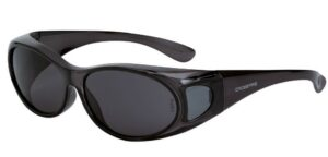 gloss black safety glasses with dark smoke lenses