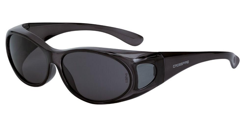 gloss black safety glasses with dark smoke lenses