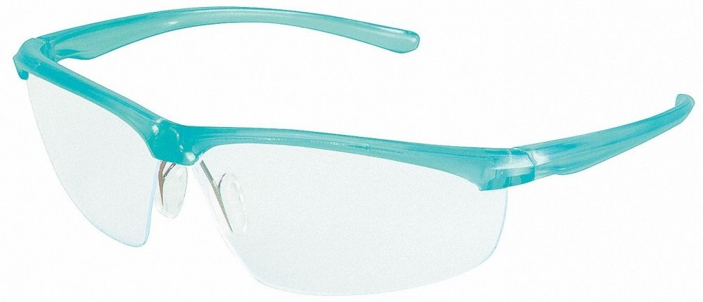 safety glasses with clear lenses and teal frames
