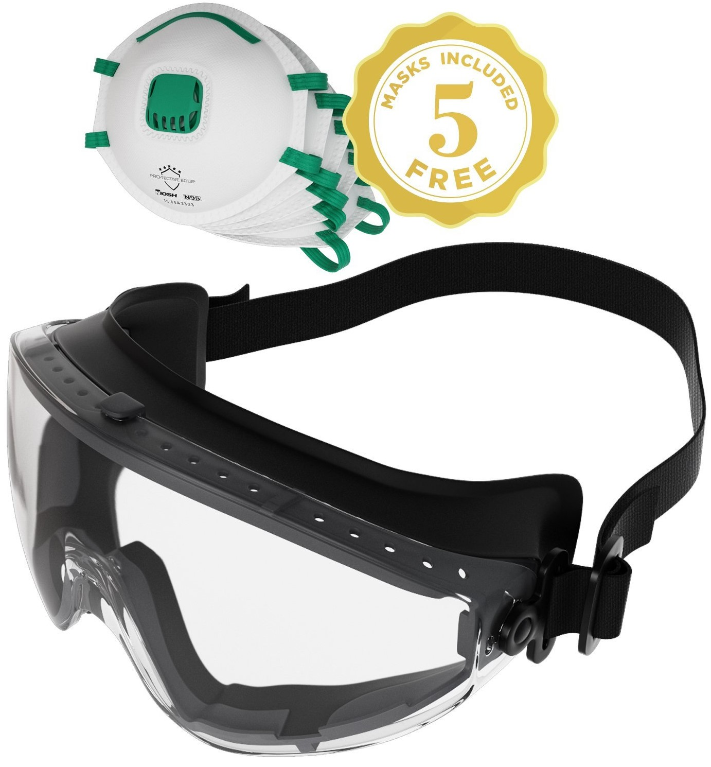 safety monogoggle fits over Rx glasses with 5 free respirator face masks
