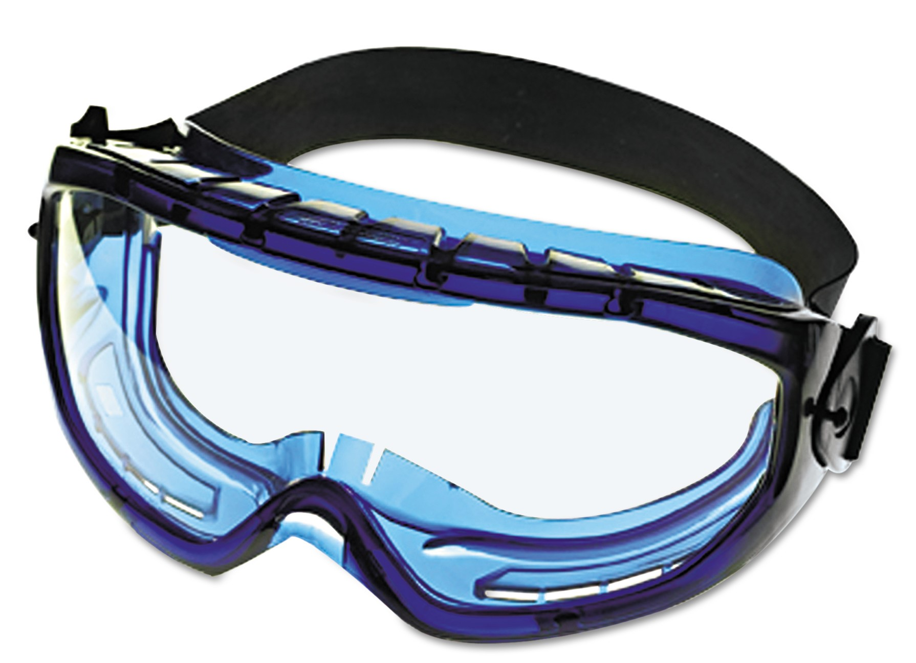 Blue frame safety goggles with clear lenses