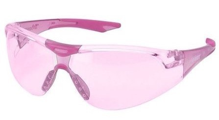 Pink safety glasses with pink frames and lenses