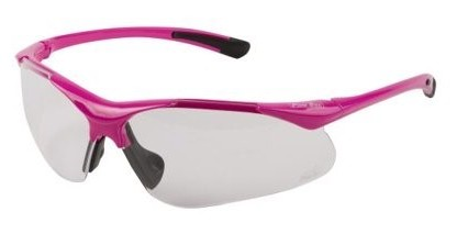 Safety glasses with bright pink frame