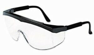 Frameless safety goggles with black temples and clear mono lens