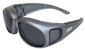 Black matt motorcycle style safety glasses with dark smoke lenses