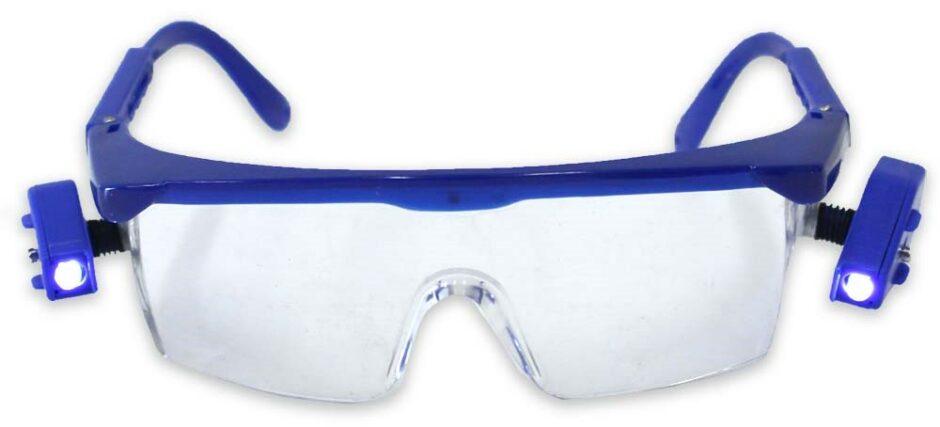 Dual swivel LED blue frame safety glasses