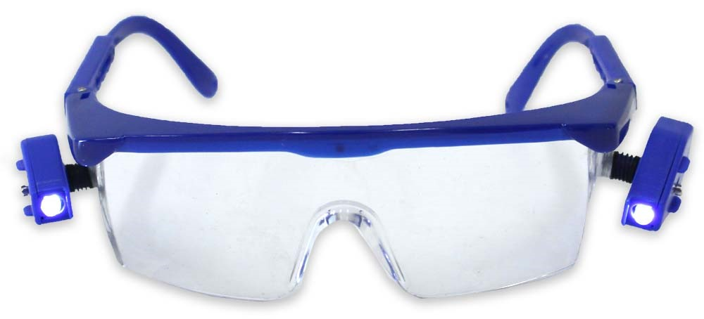 Dual swivel LED blue frame safety glasses