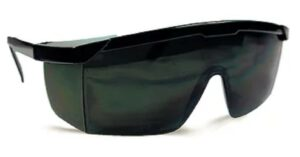 Frameless black safety mono lens goggles with infrared green lens