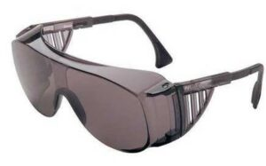 Gray colored mono lens safety goggles with vented temples