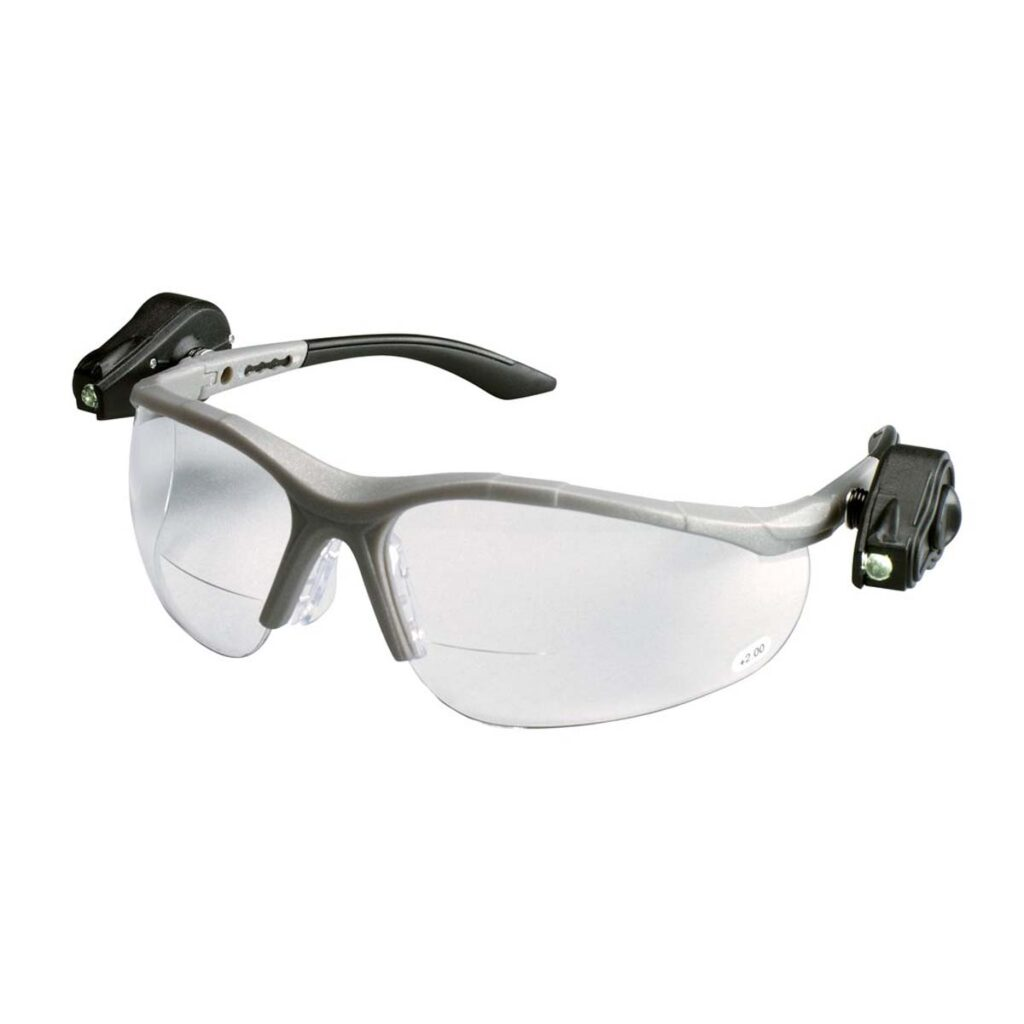 lighted safety glasses with magnifier lenses